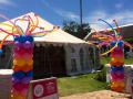 Funky balloon Pillars fo Mommy & Me Expo