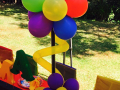 Colourful balloon centrepiece